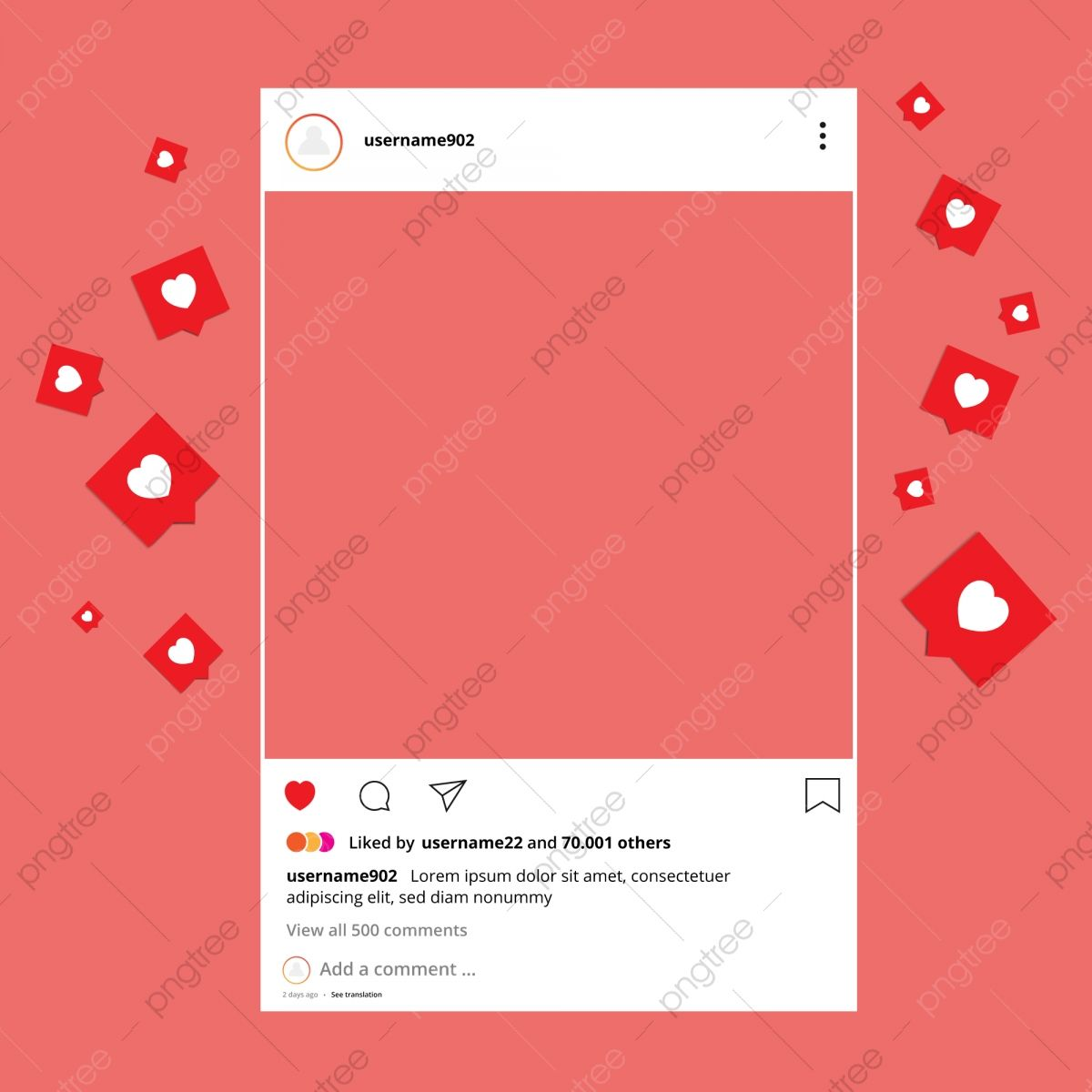 Frame Interface With Love Or Heart Emojis Ig Interface Interface Frame Png Png And Vector With Transparent Background For Free Download Instagram Frame Template Instagram Frame Instagram Logo