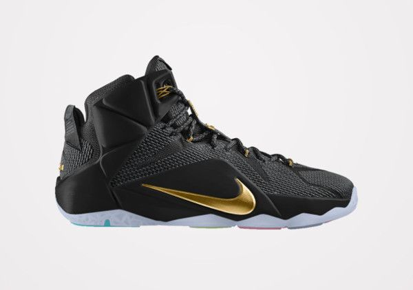 Nike Lebron 12 ID Black and Gold  c28681b9d7