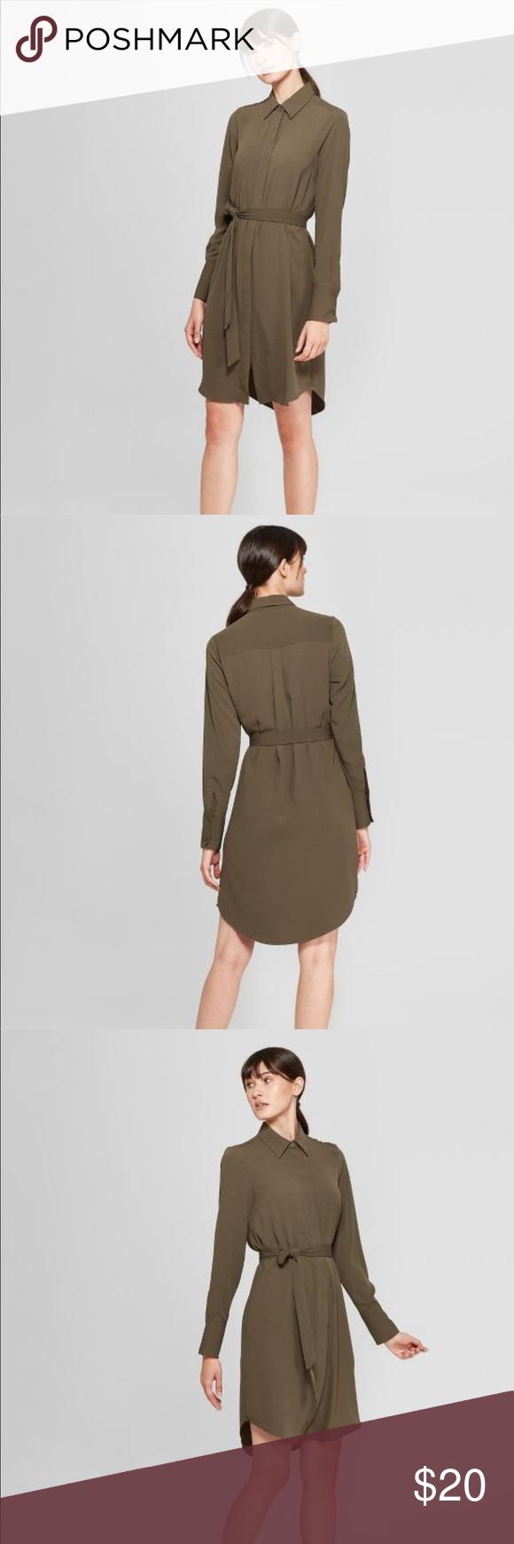 Target Long Sleeve Collared Shirtdress Olive Sz S Collared Shirt Dress Shirt Dress Long Sleeve [ 1740 x 580 Pixel ]