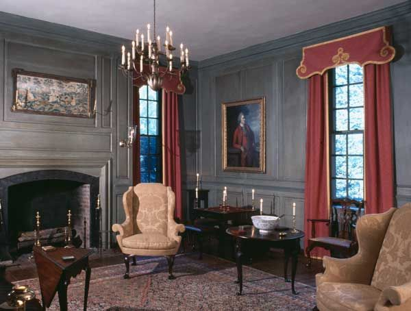Fancy Fabrics Used In The 18c Colonial The Window Treatments Are