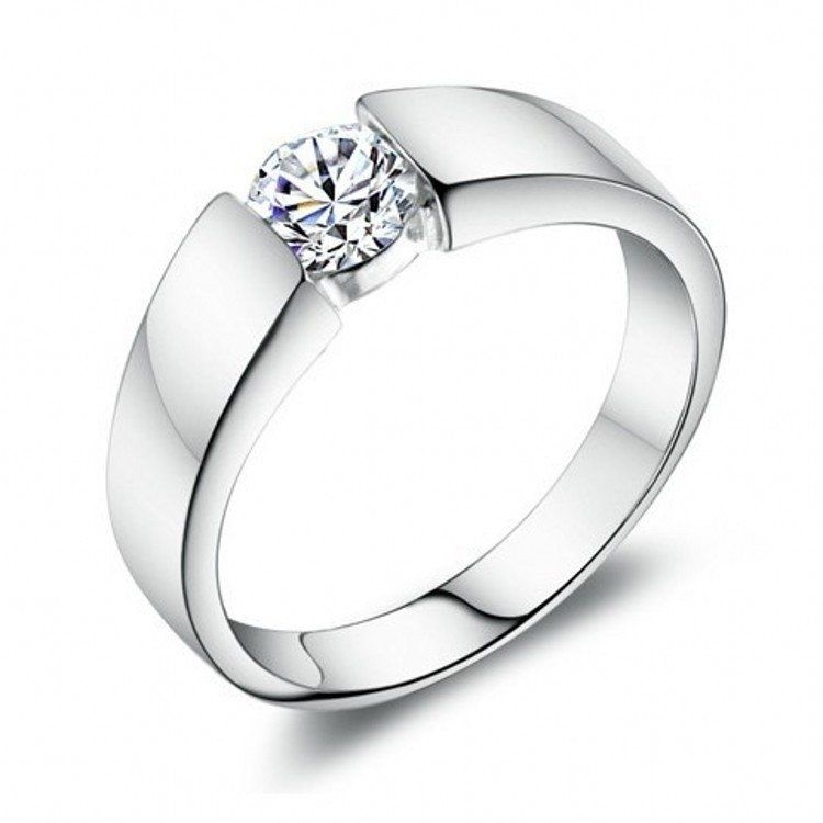 Gentleman S Wedding Ring Platinum Plated 925 Sterling Silver Ring