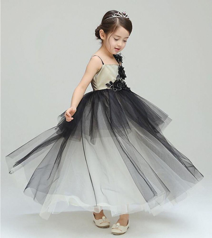 Black flower girlus dresses spaghetti straps layered kid pageant