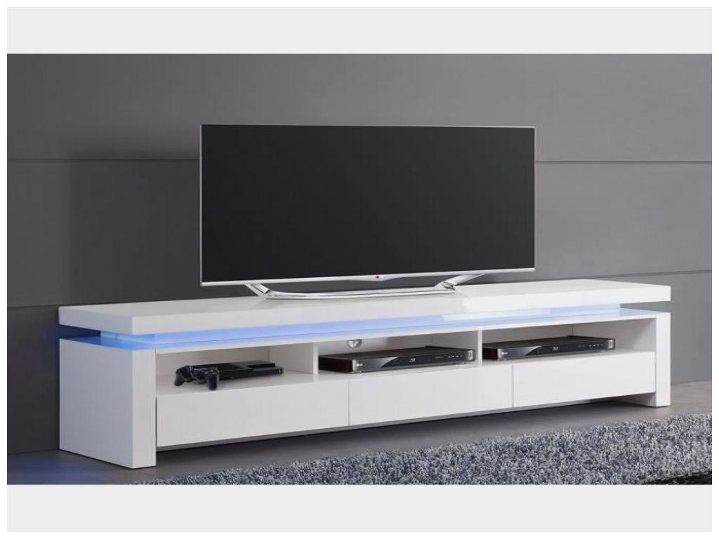 Inspirant Meuble Tv Blanc Laque Lumineux A 3 Tiroirs Meuble Tv