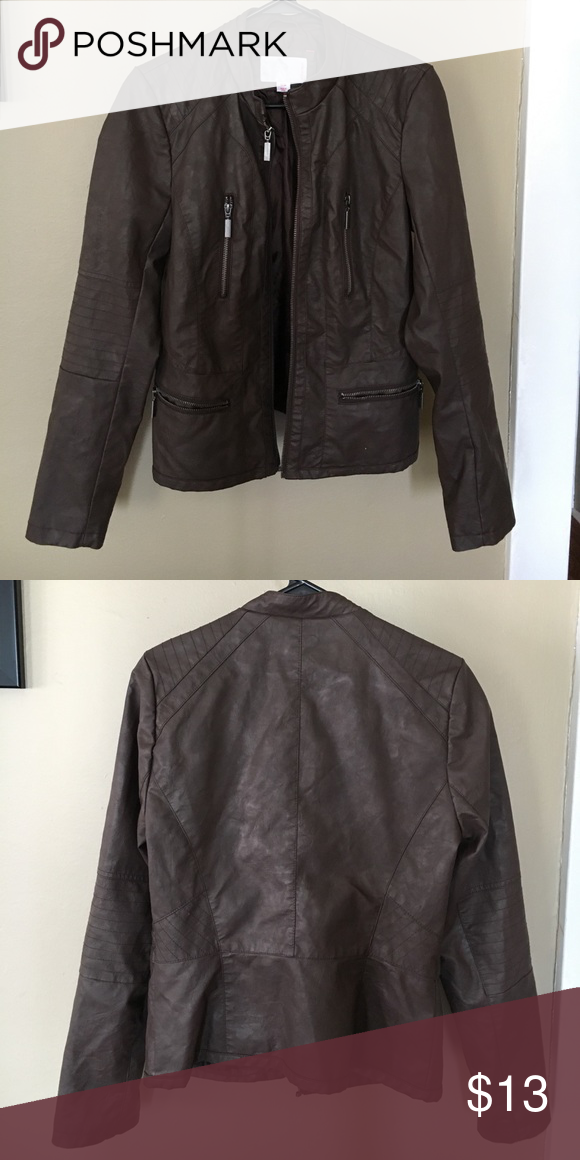 Xhiliration size medium faux-leather jacket- Brown Brown size medium jacket, bought from Target. Only worn once. Looks super cute with cream colored lace tops underneath! Great for spring and fall. Xhilaration Jackets & Coats