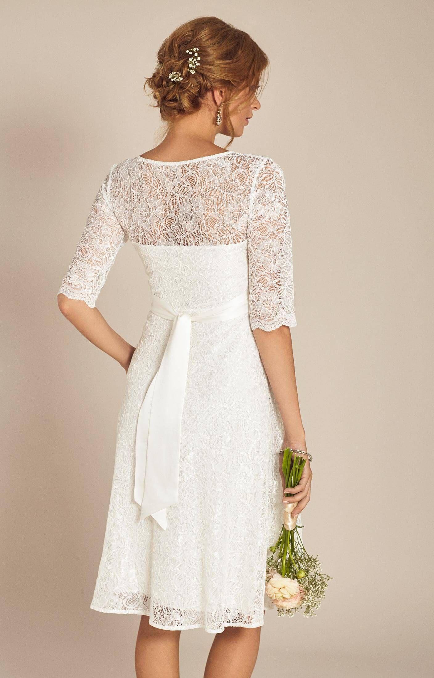 Flossie Maternity Wedding Dress Short Ivory Maternity