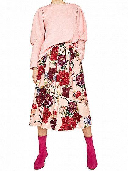 Pink Elastic High Waist Floral Midi Skirt