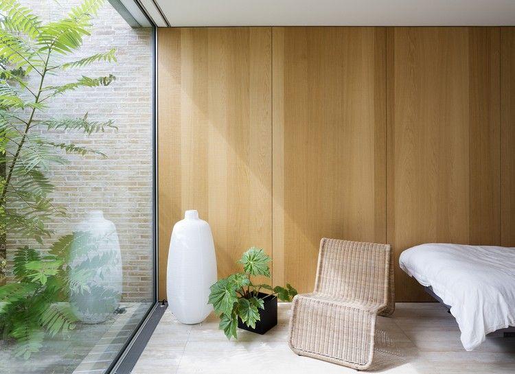 Schlafzimmer Holzverkleidung Wand Fenster Bodentief