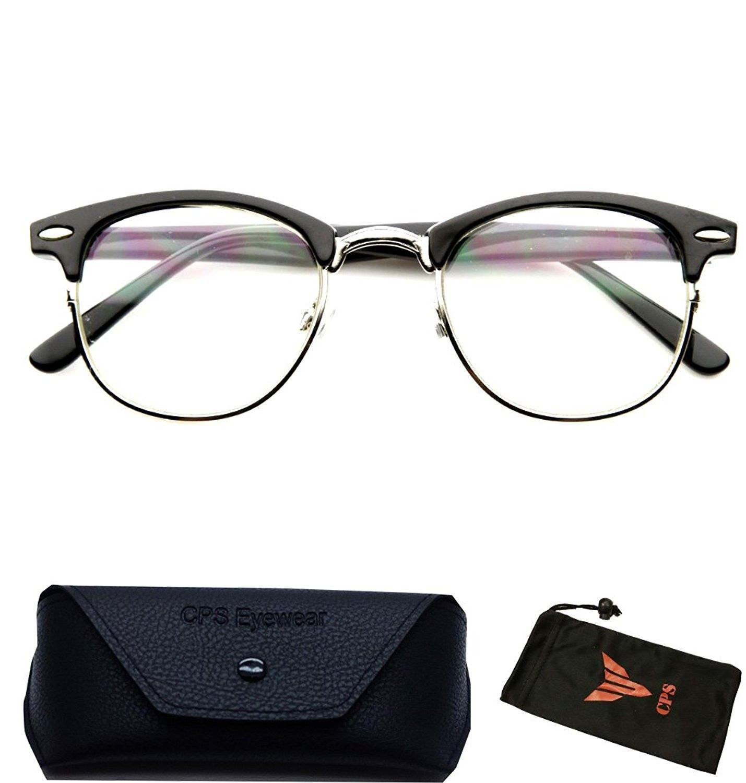 1fe3515718 Clubmaster Style Readers Retro Half Plastic Metal Hipster Wire Reading Glasses  Black - Black - CZ12CDIKZGR-Men s Sunglasses