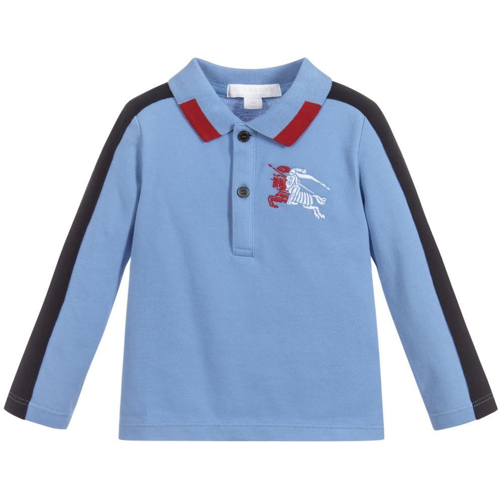 3b0b21a1bb2d5 Burberry - Boys Blue Cotton Polo Shirt