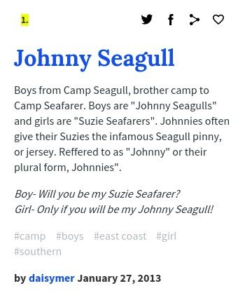 Urban Dictionary Johnny Seagull  Life Camp Seafarer For Girls