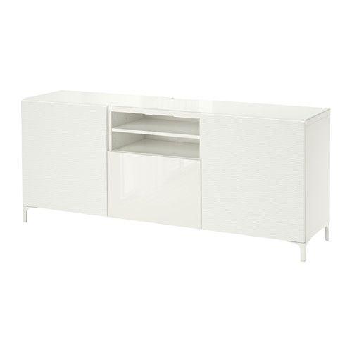 313.00 BESTÅ TV unit - Laxviken white/Selsviken high-gloss/white, drawer runner, push-open, 180x40x74 cm  - IKEA