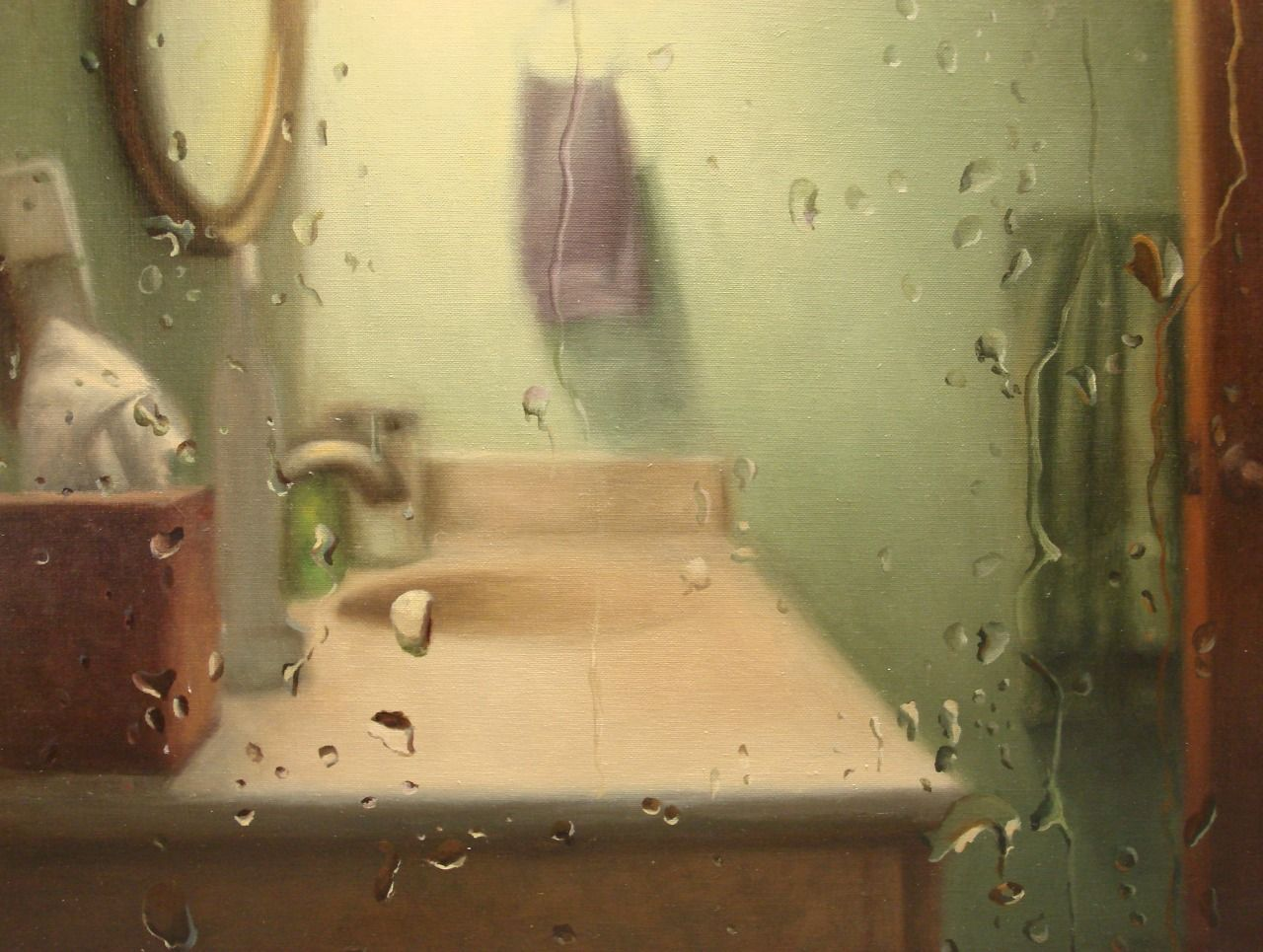 After the shower. Oil on linen. An experiment in how many water ...