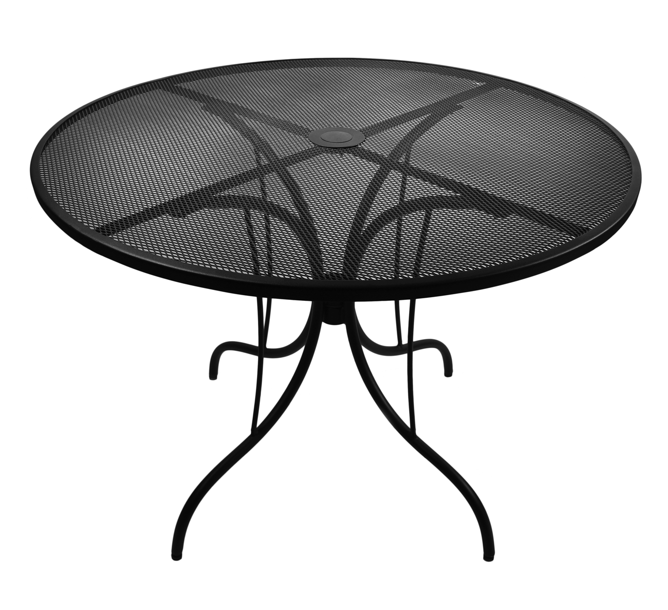 This galvanized, powder coated steel mesh commercial outdoor table ...