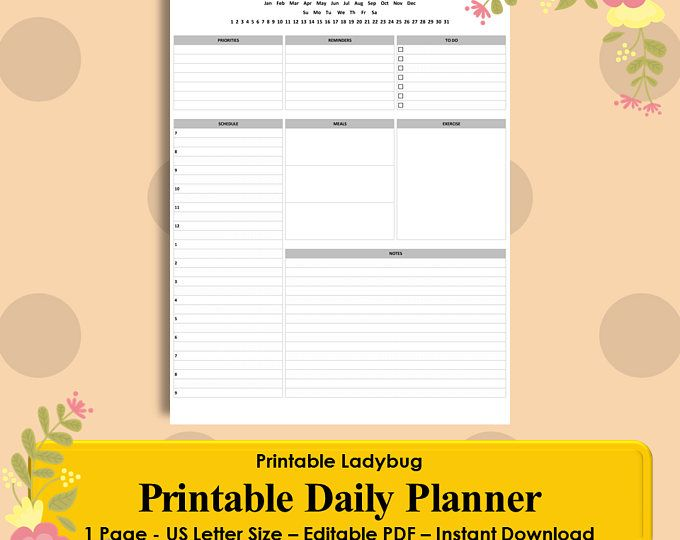 Printable Daily Planner Daily Schedule Agenda Schedule Template