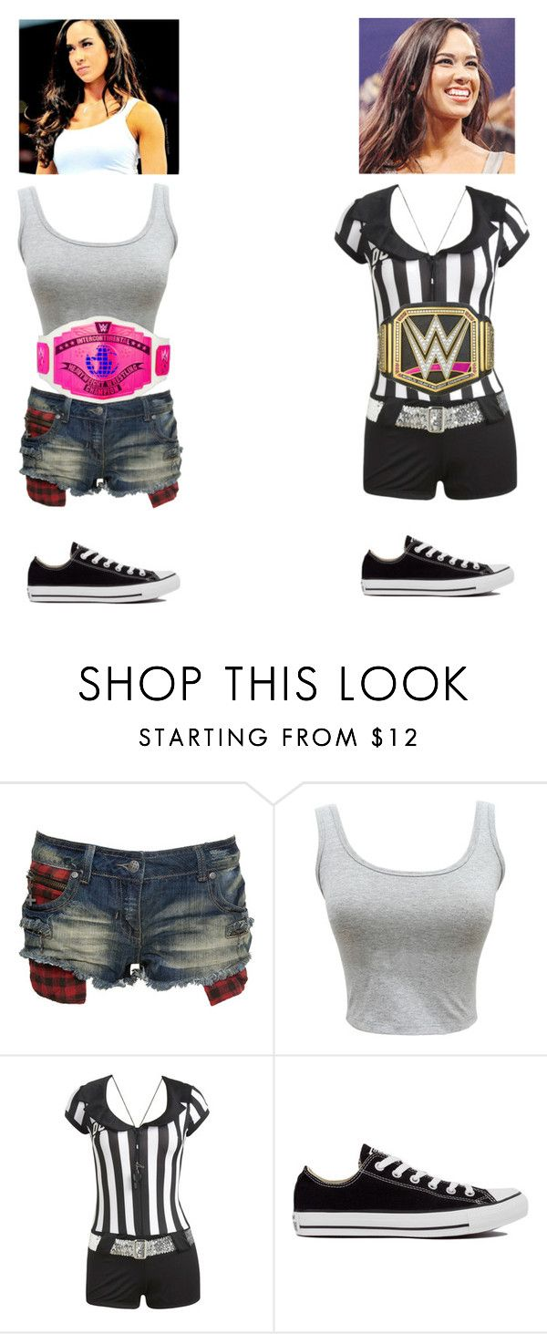 """""""Maddie as special guest rev. For my intercontinental title match vs Natayla"""" by angellynn02 ❤ liked on Polyvore featuring Crafted, Wet Seal and Converse"""