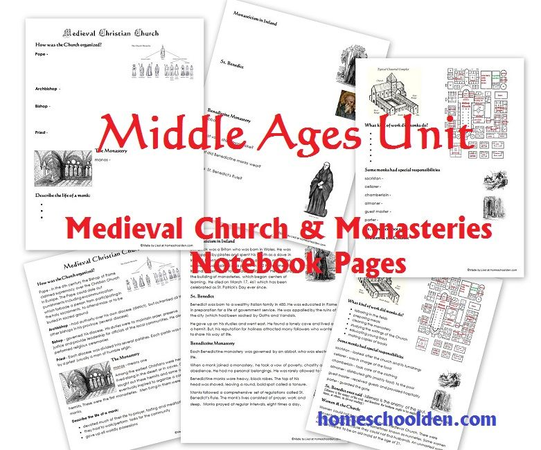 Middle Ages Unit The Medieval Church And Monasteries Worksheets