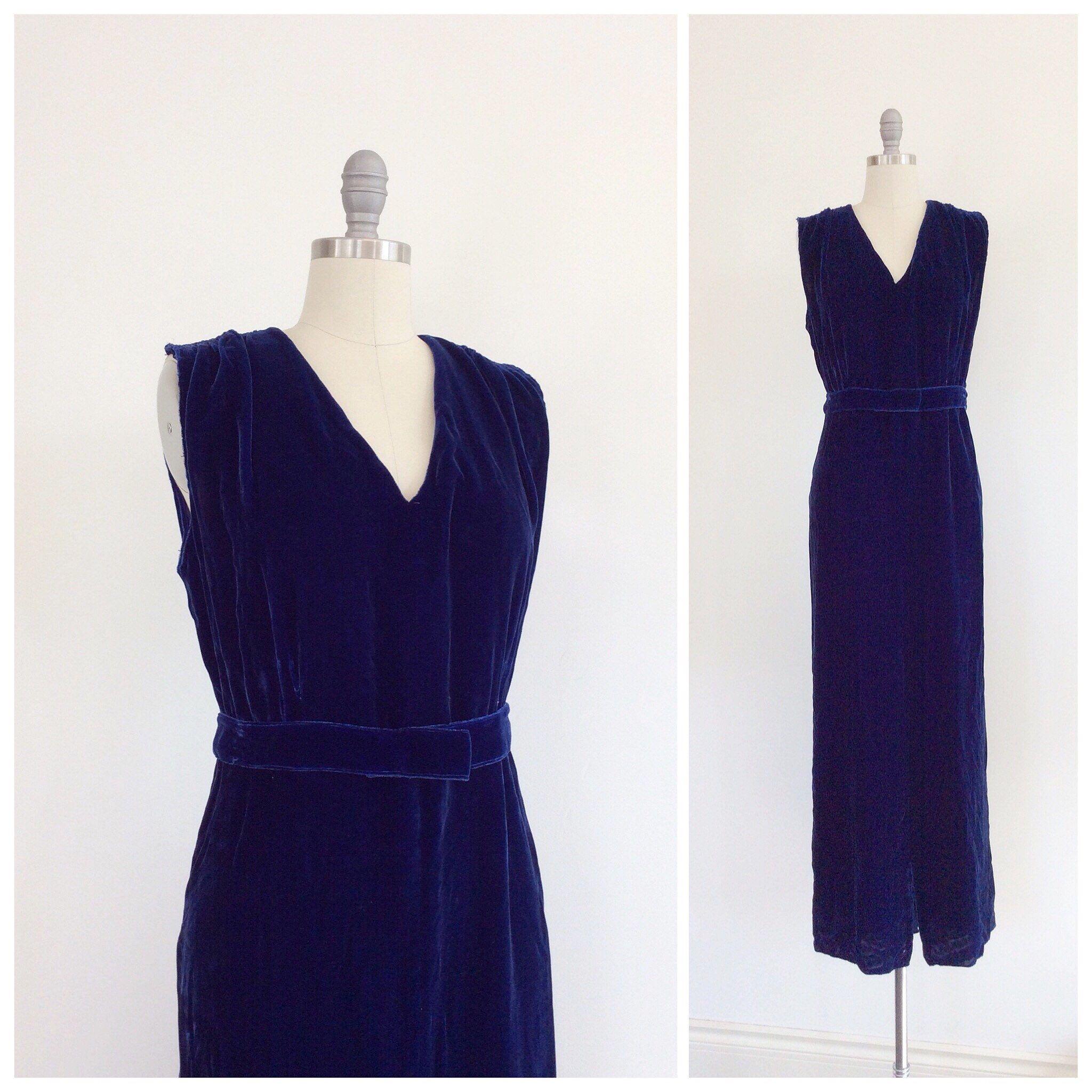 S dark blue silk velvet gown s vintage maxi dress medium