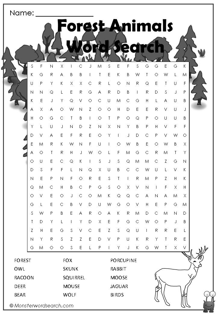 awesome forest animals word search word search kids word search forest crafts word puzzles. Black Bedroom Furniture Sets. Home Design Ideas