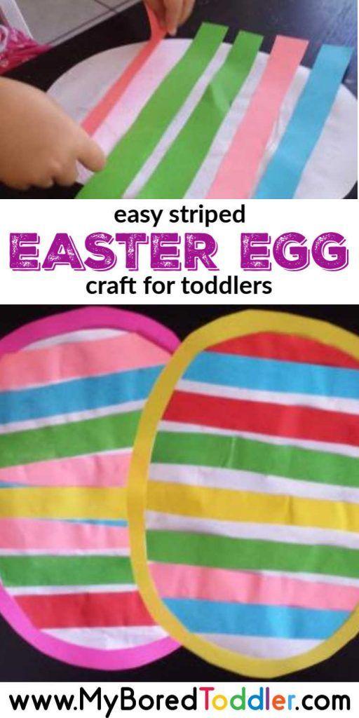 Toddler Striped Easter Egg Craft - My Bored Toddler