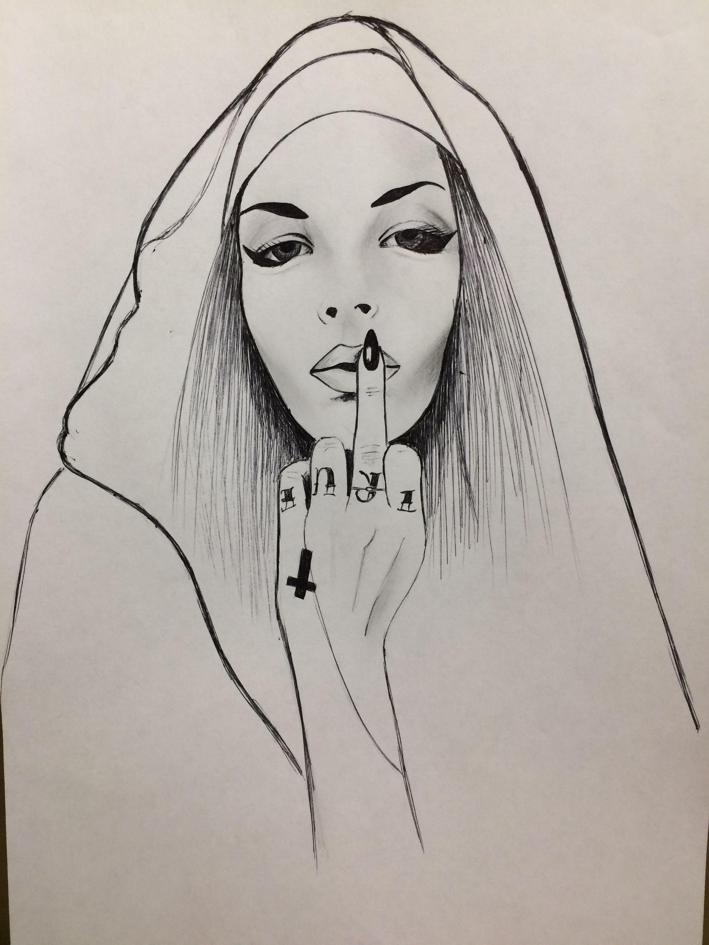 Сексуальная монашка рисунок