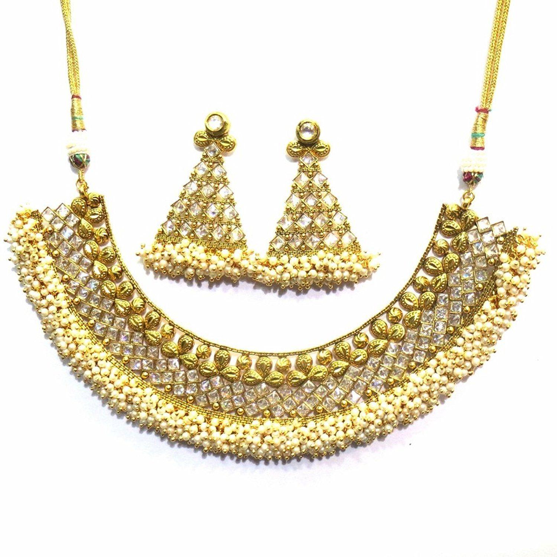 Jewelshingar jewellery antique polki kundan gold plated necklace set