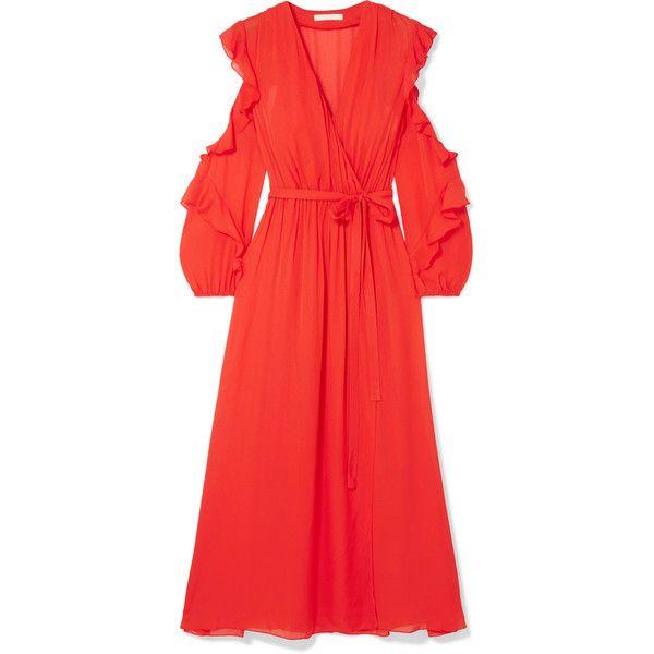 Ruffled Wrap-effect Chiffon Midi Dress - Red Maje 2s4fYeT