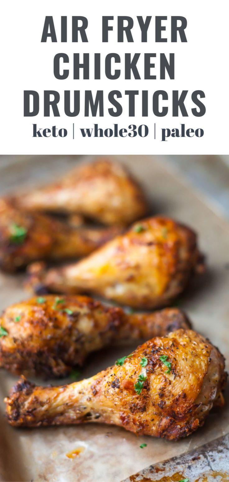 Easy Air Fryer Chicken Legs Garlic and Herb Seasoned in