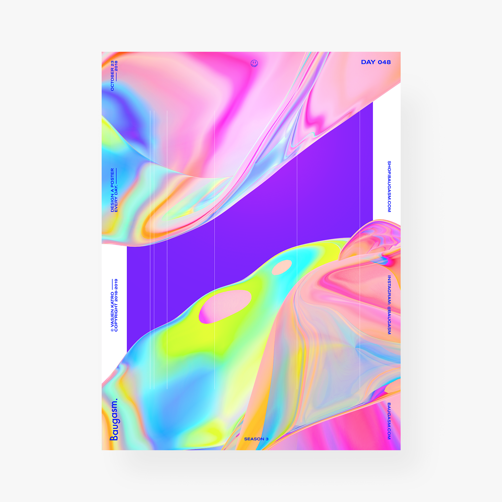 Poster, Print, Typography, Blue, Purple, Radiant, Colors