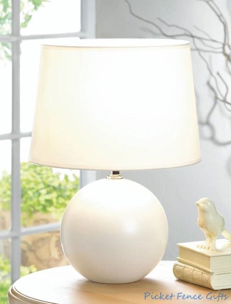 Small White Round Base Ceramic Table Lamp W Matching Fabric Shade 29 71 End Date Monday Nov 5 2018 3 46 39 Pst Buy It N Ceramic Table Lamps Table Lamp Lamp