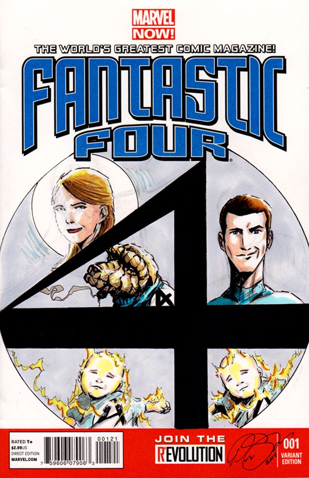 Fantastic Four sketch cover commission of a family drawn as the superhero team