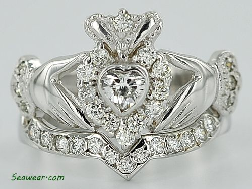 claddagh engagement ring wedding band up people if wedding band and engagement ring love - Irish Wedding Ring Sets