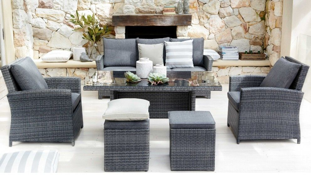 Malta 6 Piece Outdoor Lounge Dining Setting - Outdoor Dining ...