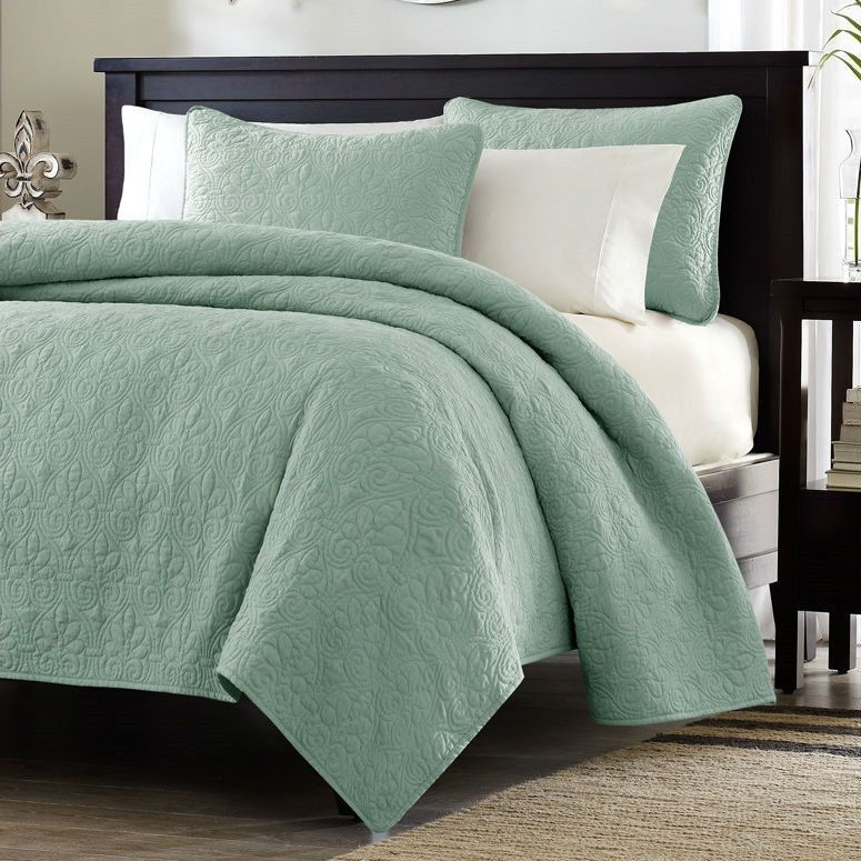 Twin / Twin XL size Coverlet Quilt Set with Sham in Seafoam Blue ... : twin xl quilts coverlets - Adamdwight.com
