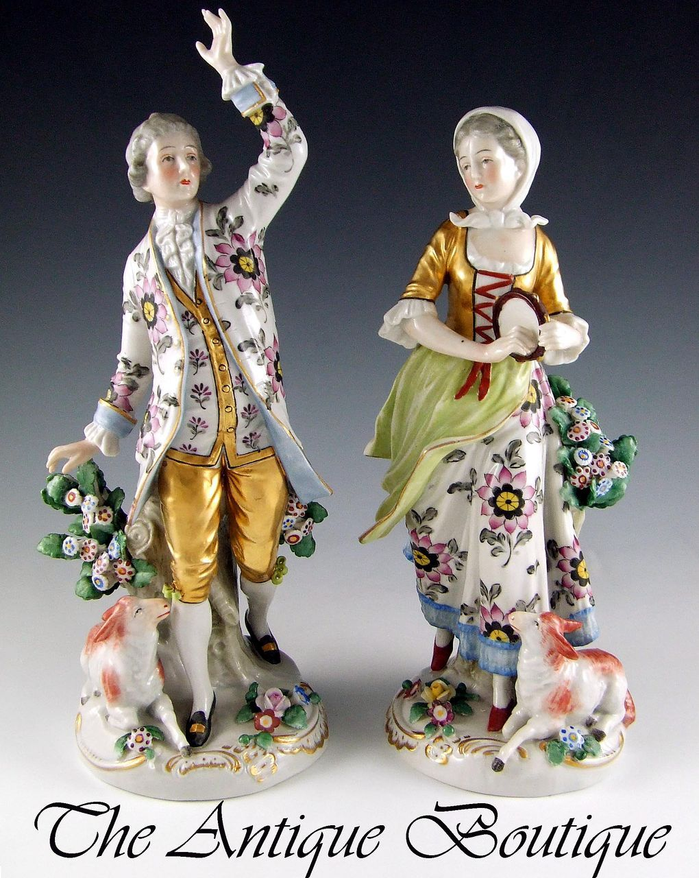 Pair Of Antique Sitzendorf Dresden German Porcelain