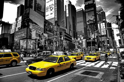 Times square new york black white with a splash of yellow taxi cab by paul in