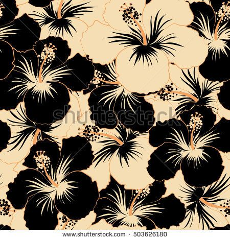 Aloha Hawaiian Shirt Vector Seamless Pattern Beige And Black Hibiscus Seamless Flower Background Wallpaper Flowers Black Background Black Background Wallpaper