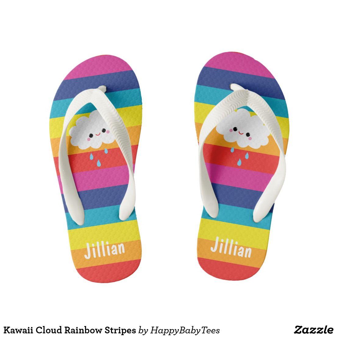 caa64f3d50e4fd Kawaii Cloud Rainbow Stripes Kids Flip Flops