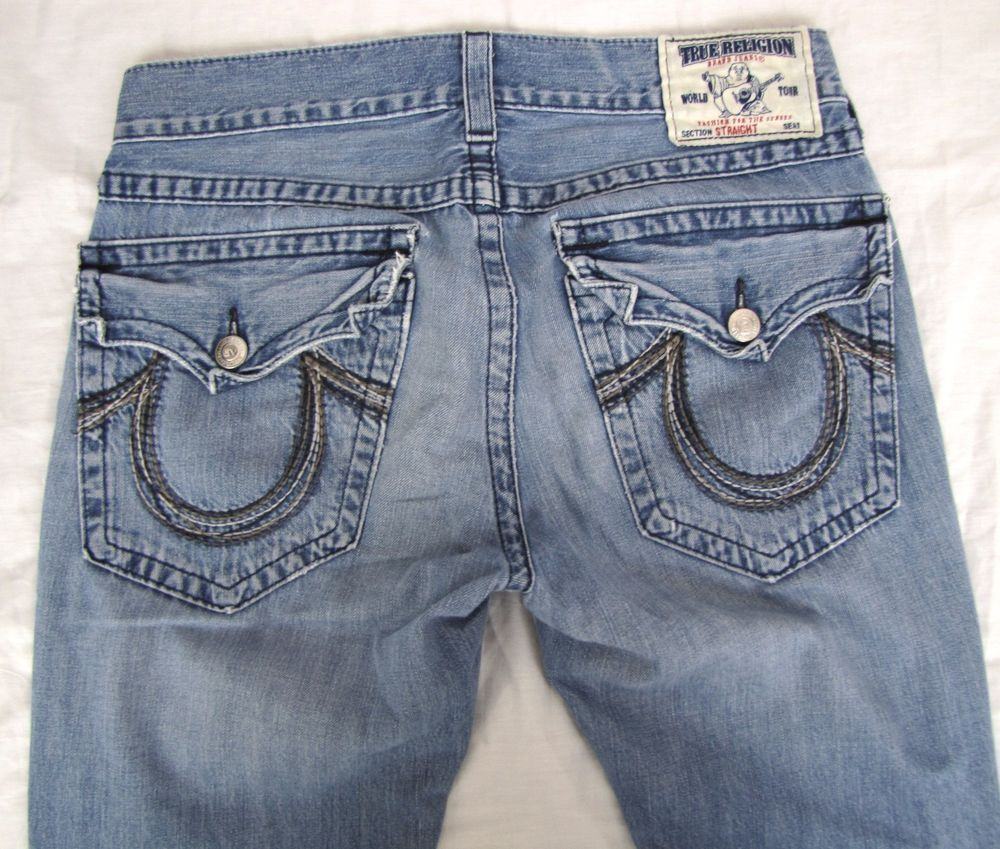 True Religion Jeans 33 x 33 Straight Leg Embroidered Flap Pocket Blue Denim #TrueReligion #ClassicStraightLeg