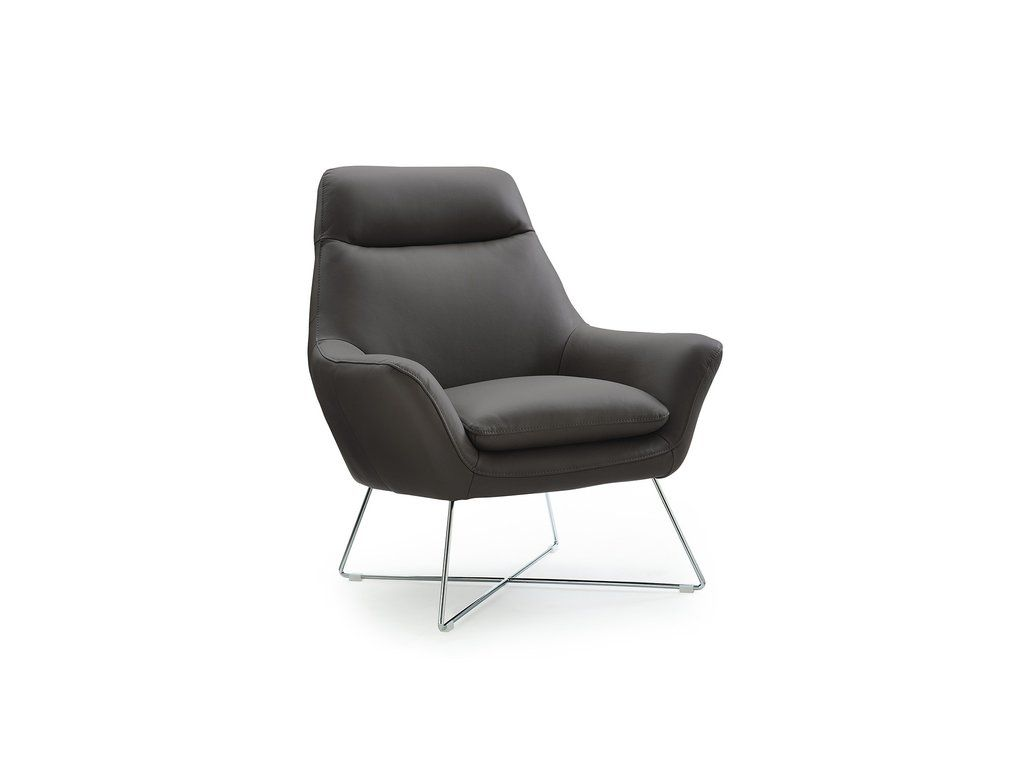 Daiana Chair Grey Leather Chair Modern Leather Chair Stainless Steel Legs