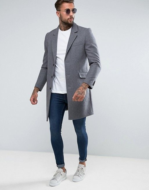 89ba69e6cc07 DESIGN wool mix overcoat in light gray in 2019 | Things I Need (Q2 ...