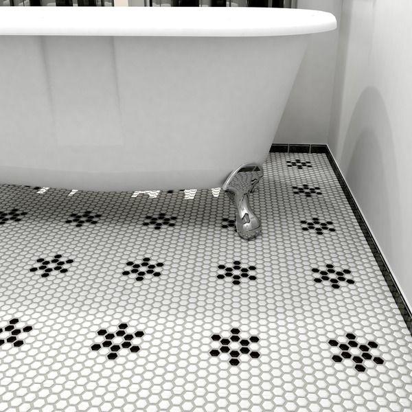 Somertile victorian hex matte white for 10 inch floor tiles