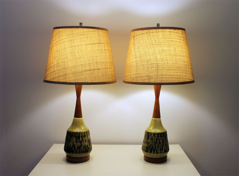 Pair Of Mid Century Vintage Lamps Teak Neck Base Bamboo Style Green Ceramic Xoatom Com Mid Century Modern Table Lamps Vintage Lamps Mid Century Lamp