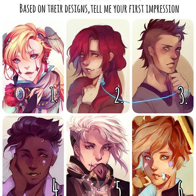 Comment with your first impressions of my ocs based on their designs! (Feel free to comment on as many as you'd like) 1.vinci 2.Adilene 3.Mihai 4. Beau (name subject to change but lets use this now) 5. Kivanc 6. Mikkel (short for Mikaela) Been seing this meme around so i felt like doing it too, i dont write a lot about my ocs and you might not know some of them especially 1 and 5 who are really old and i havent drawn them for ages #relseiy_ocs