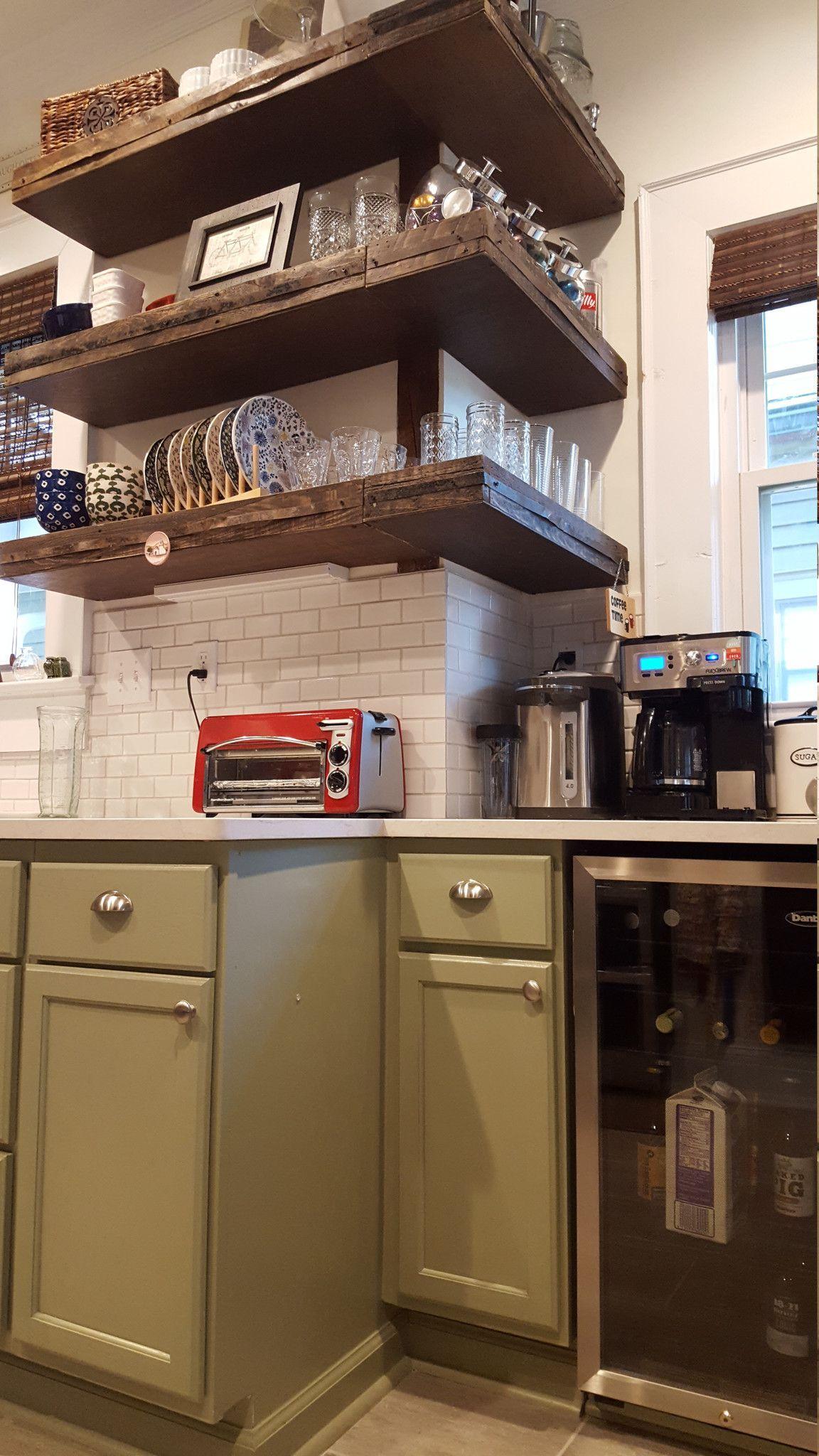 Dark Walnut Kitchen Shelving, Wrap Around Shelves, Corner Floating Shelves
