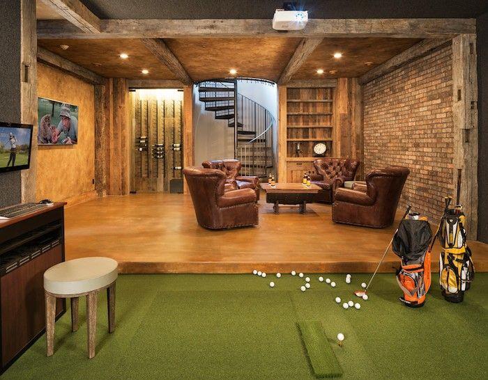 keller ausbauen spielraum erholungsbereich einrichten eingebaute beleuchtung ohrensessel leder. Black Bedroom Furniture Sets. Home Design Ideas