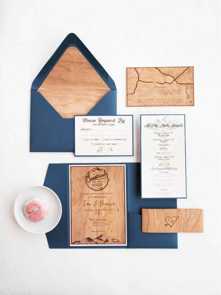 Navy Wood Paper Pocket Invitations