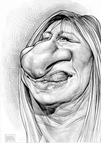 caricature of Barbra Streisand illustrated by Russ Cook