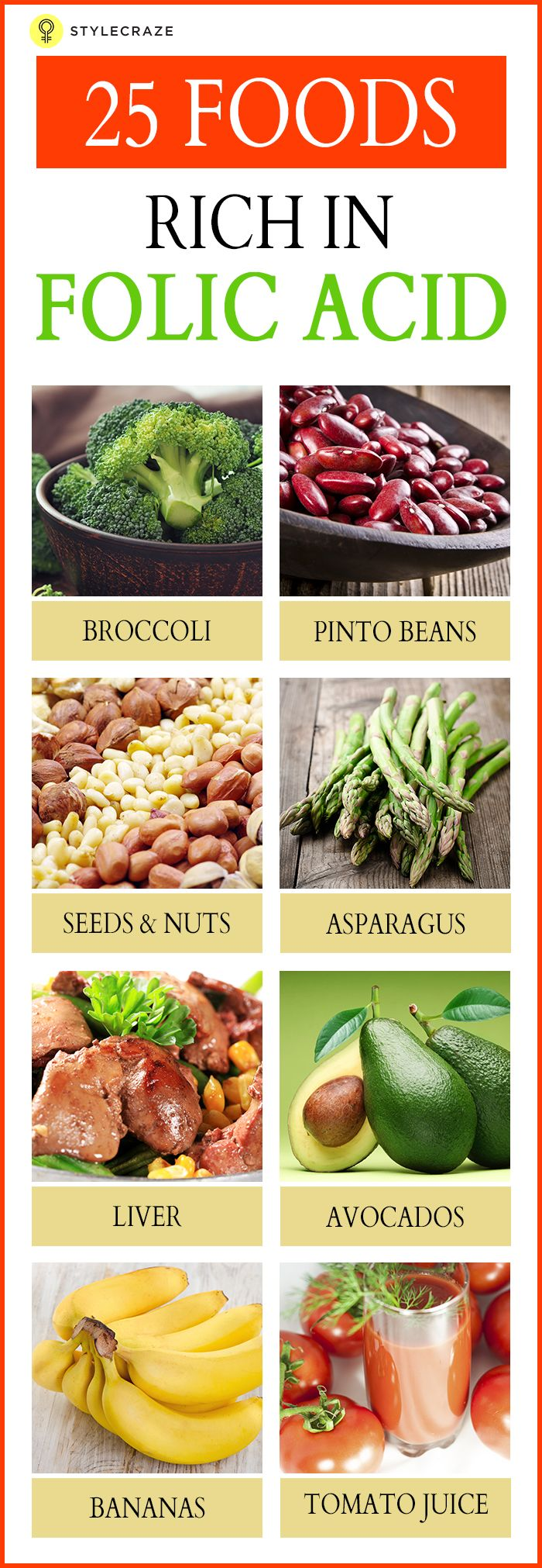 Foods Rich In Vitamin D: Top 25 Foods High In Folic Acid You Should Include In Your