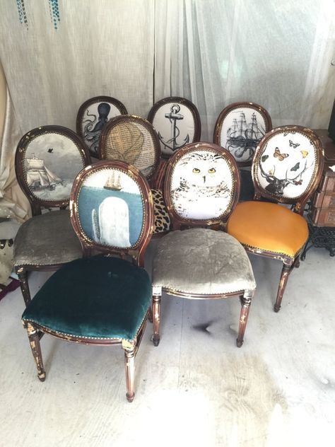 eclectic set of dining chairs upholstered with velvet and leather on