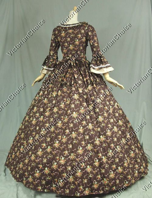 Colonial Victorian Vintage floral Dress Ball Gown Reenactment ...